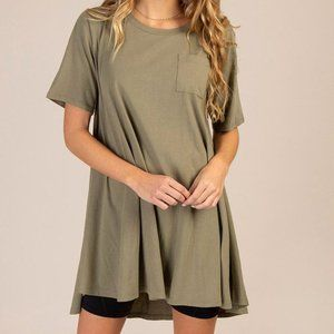 Abby Scoop Neck Dress Olive- Natural Life